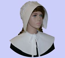 Girls Pilgrim or pioneer coif and collar costume fancy dress 100% white cotton