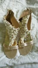 Womens Wedge Biao T Strap Open Toe Shoes Size 39 Gold Lames Pearls Silver Beads