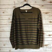 J.Crew XL Hunter Green Striped 100% Merino Wool Long Sleeve Pullover Sweater