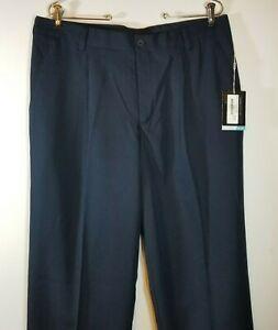 Nike Golf Mens 34 x 32 Navy Blue Dri Fit Pleated Cuffed Dress Pants 391965 NWT