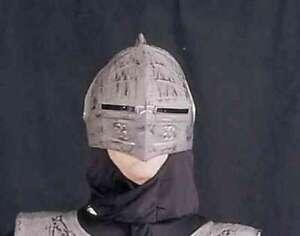 Knight Helmet Gray Brushed Metal Look Light Weight Plastic Medieval Headpiece