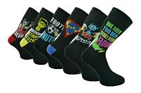 6 Pairs Mens Polyester Novelty Fun Socks, Six Different Designs, Size 6-11