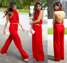 I ZARA red FLOWING LOOSE JUMPSUIT OVERALL PLAYSUIT OPEN BACK - 36 SMALL S