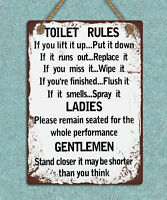 Shabby chic grunge style metal hanging sign Toilet rules wall door plaque gift