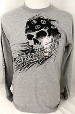 Harley-Davidson Motorcycles Mens M T-Shirt LS Pirate Skull Gray Powertrain Op.