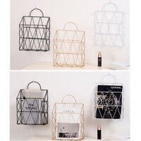 Wall Mount Hanging Wire Basket Magazine Newspaper Shelf Post Letter Storage Rack