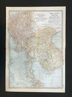 Antique Map Of India Burma Siam Bangkok Cambodia Hanoi Rangoon Assam    1903