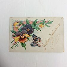 Postcard Vintage 1913 Postkarte 1 Cent Stamp Postally Used Butterfly Floral