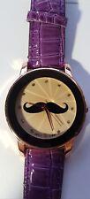 Ladies Moustache Purple Watch Ibeli Crocodile Skin Look Working