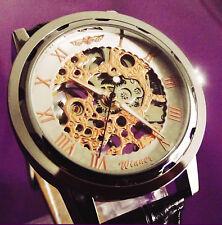 Luxe Imperméable Homme Squelette Automatique Mécanique cuir montre-bracelet