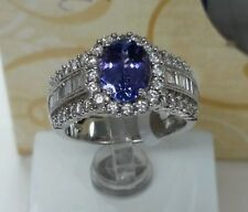 18k gold Gemstone Tanzanite Fine ring, 9x7 oval 1.80ct ,1.28ct G vs2 Diamonds