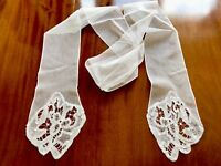 Antique White Lace Collar / Lappet Scarf 80 Inches Long