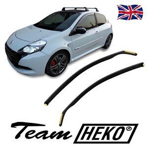HEKO TINTED WIND DEFLECTORS for RENAULT CLIO RS mk3 3 DOOR 2005-2012 2pc