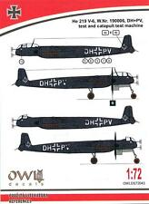 Owl Decals 1/72 HEINKEL He-219V-6 Catapult Test Aircraft