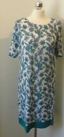 NEW tagged Tunic Shift Dress Aqua Blue and White Sizes 14 16 18 Summer Holiday