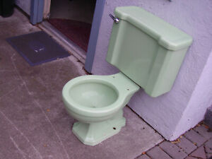 Vintage 1950 Green Porcelain Complete Toilet.