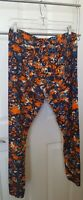 Lularoe Tall and Curvy Large Activewear Yoga Pants Orange Blue Print