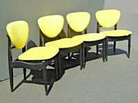 Set of Four Vintage Mid Century Modern Yellow & Black Accent Chairs