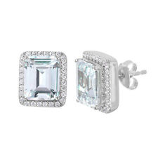925 STERLING SILVER LADIES ROUND SQUARE STUD EARRINGS W/ DIAMOND / NEW DESIGN!!