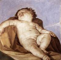 Oil painting Salome Guido Reni -  Sleeping Putto naked little boy on canvas