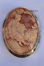 Vintage Shell Cameo Brooch and Pendant Natural and  sterling silver