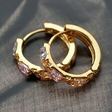 Bright and Dignified 9K Yellow Gold Filled Earrings Hand-inlaid Colored Stones