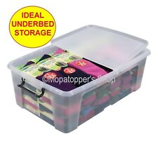 NEW 5 x Large Clear Plastic Storage Boxes Box & Lid 50 Litre Ideal Under Bed Use