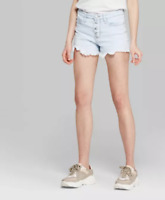 Wild Fable Women's Exposed Button Fly High Rise cut off shorts Light Wash NWT