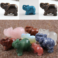 Natural Crystal Stone Carved Small Elephant Chinese Jade Lucky Ornament Decorate