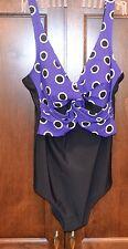 ANITA Comfort  One piece Purple Black  size 8  C Cup Swimsuit Bathing Suit