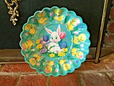 Vintage Easter Bowl Bunny Chick Plastic Plate Retro Aqua Teal Blue 60s Near Mint