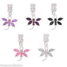 10PCs Mixed Rhinestone Dragonfly Dangle Beads Fit Charm Bracelet