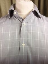 """Gieves & Hawkes Savile Row Grey Prince Of Wales Check Double Cuff Shirt 16.5"""""""