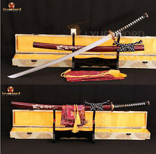 Japanese Sword Damascus Steel Samurai Katana Clay Tempered Blade Razor Sharp