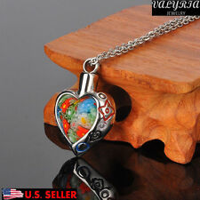 Flower Patch Heart Cremation Jewelry keepsake Memorial Pendant Ash Urn Necklace