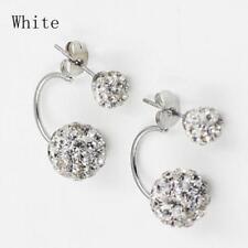 Mujer Pendientes De Botón Aretes Doble Bola Cristal 925 Plata Stud Earrings