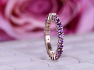 1Ct Round Cut Amethyst Diamond Full Eternity Wedding Band 14K Rose Gold Finish
