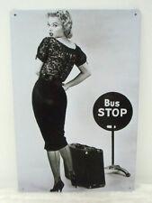 Plaque murale métal Marilyn Monroe arrêt de bus stop decoration retro pinup