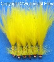 6 Origional Gold Head UV All Yellow Damsel Mini Lures Trout Flies Size 10
