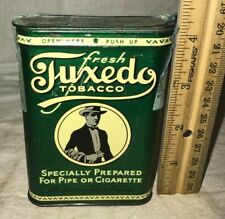 ANTIQUE TUXEDO TOBACCO PIPE CIGARETTE SMOKING TIN LITHO VERTICAL POCKET CAN OLD