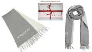 """New Coach Double Faced Muffler WOOL CASHMERE Scarf  70"""" x 12"""" + GIFT Box+Receipt"""