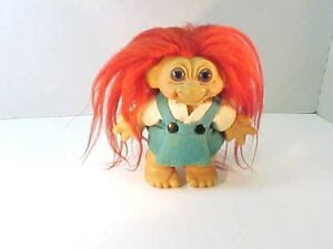Vintage THOMAS DAM 1960's Red Hair Purple Eyes & Felt Outfit  Troll Bank