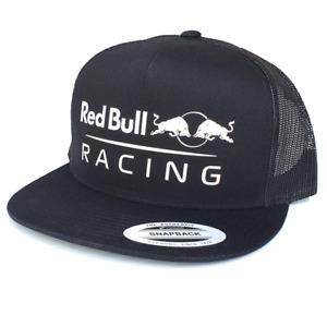 Red Bull Racing F1 Flat Bill Black Mesh Snapback Trucker Cap OSFM