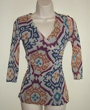 Looks New Womens Sweet Pea Anthropologie Stacy Frati Top S Blue Teal Stretch