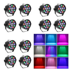 LED Stage Lights Par Wall Wash Wedding DJ Up Light RGBW Colorful Strobe 12 Pack