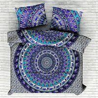 Indian Elephant Mandala Double Duvet Quilt Cover Bedding Ethnic Boho Blanket Set