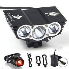Imperméable 6600 LM DEL Avant Vélo Léger Batterie Recharge arrière Lampe de poche X3 Noir