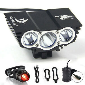 Waterproof 6600Lm LED Front Bike Light Battery Recharge Rear Flashlight X3 Black