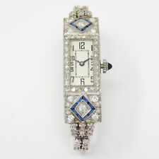 NYJEWEL Platinum Lady's Women Sapphire 2ct Diamond Wind Up Bracelet Watch