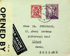BELGIUM 1940 FAMOUS PEOPLE COAT OF ARMS 2v ON WWII CENSOR A/M COVER TO GB